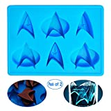 Star Trek Silicone Mini Ice Cube Trays 2 Pack Cool Starfleet Small Pudding Maker Novelty Jelly Molds Rubber Candy Chocolate Mould Awesome Gift