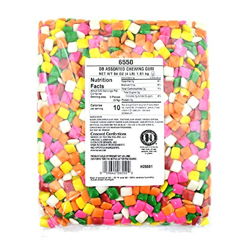Dubble Bubble Assorted Colors Chicle Tab Chewing Gum, 4 lb. Bag, Gumball Machine Refills, Bulk Packaging, 4 Pounds