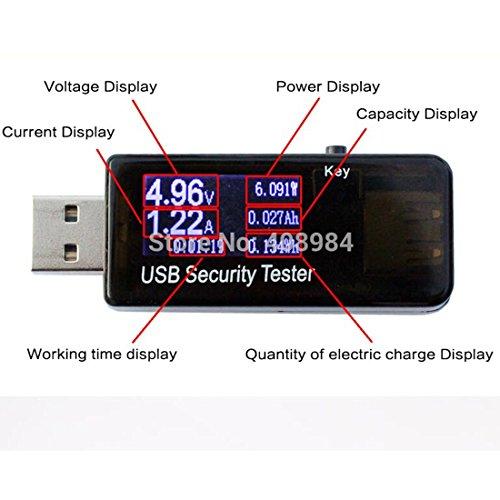 『USB電流電圧テスター チェッカー 5V-30V/0-5.1A 急速充電QC2.0/QC3.0/MTK-PE/iphone2.4Aなど対応 積算機能・VA同時表示 電池残量測定ストレート型 ブラック「1年保証」』の4枚目の画像