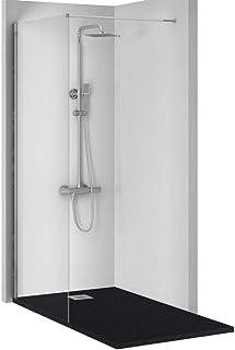Conjunto de 3 PIEZAS: Plato de ducha de resina + Panel fijo de cristal + Conjunto de ducha