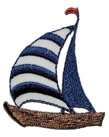 alles-meine.de GmbH Segelboot 4,3 cm * 5,1 cm Bügelbild Aufnäher Applikation - Schiff Segelschiff Boot Maritim Yacht Wasser
