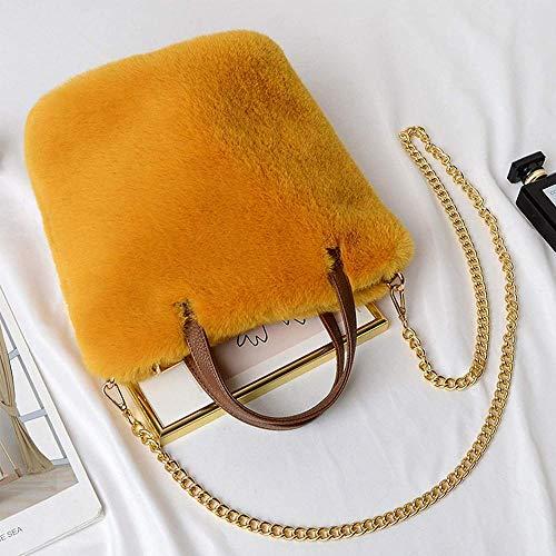 ZSW Fashion Faux Fur Bolsos de Invierno Bolso Bandolera de Hombro para Mujer-Amarillo