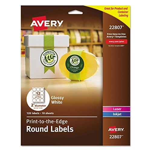 Avery 2-inch Glossy White Round Labels