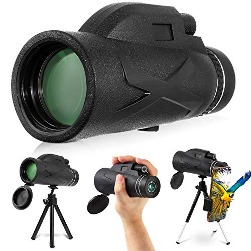 80x100 Monocular Telescope, Dyna-Living Upgraded HD High Power BAK4 Monocular Scope with Low Night Vision for Bird Watching Wildlife, Zoomable Telescope with Smartphone Holder and Tripod for Adults