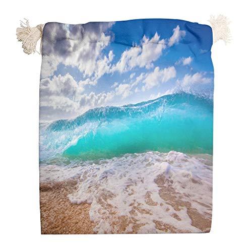Landschap blauw groen zee strand golf wolk opbergtas van katoen verjaardag dubbele trekkoord gedroogde vruchten Home herbruikbare stof ademende multifunctionele theezak 20 * 25cm wit