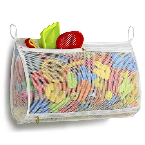 "Tenrai Mesh Bath Toy Organizer, Bathtub Storage Bag, Multi-Purpose Baby Toys Net, Toddler Shower Caddy for Bathroom, Kids Toy Holder (14"" x 20"" , White, M)"