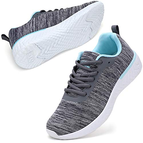 STQ Tennis Shoes for Womens Athletic Workout Sneakers Ultra Lightweight Lace up Running Shoes Grey/AQUE US 8