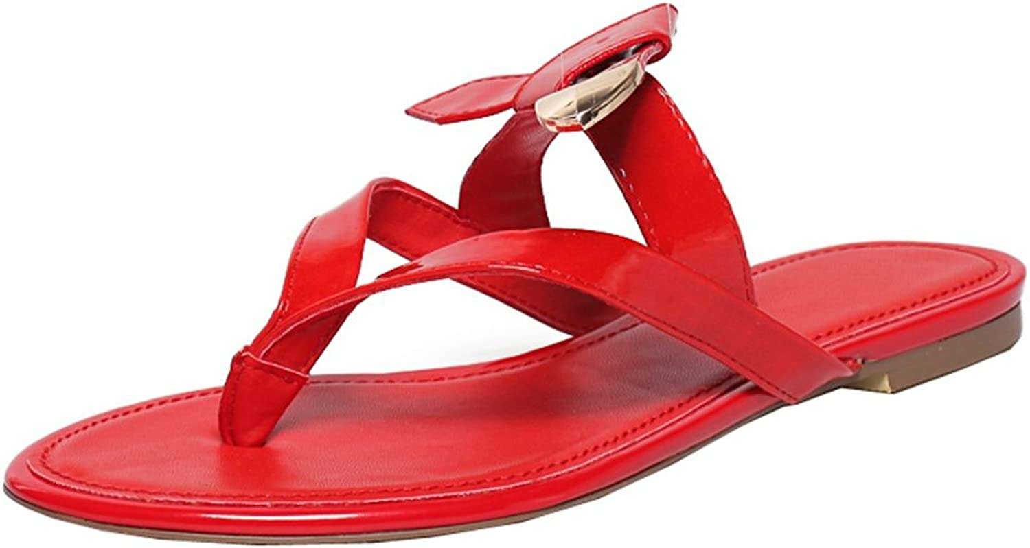 TDA Women's Casual Summer Knot Patent Leather Flat Thong Slippers Flip-Flop Sandals