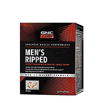 GNC AMP Men s Ripped Vitapak Program   Multivitamin Blend With Metabolism and Muscle Support   30 Packs