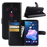 Sangrl Funda para HTC U12 Plus/HTC U12+, Billetera Funda Piel PU Flip Folio Carcasa para HTC U12 Plus/HTC U12+, Soporte Plegable - Negro