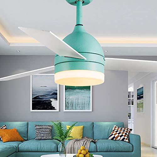 Luz de ventilador de techo Hogar con lámpara de luz de ventilador restaurante dormitorio control remoto retro ventilador silencioso lámpara de techo ventilador de techo [nivel de energía A]-Bluelak