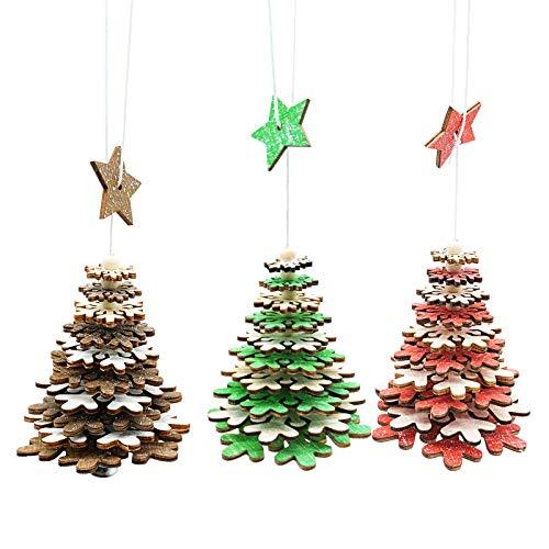You, set di 3 accessori di Natale in legno a cinque punti stella fiocco di neve con piccola campana, 3 colori, decorazione fai da te per feste di Natale