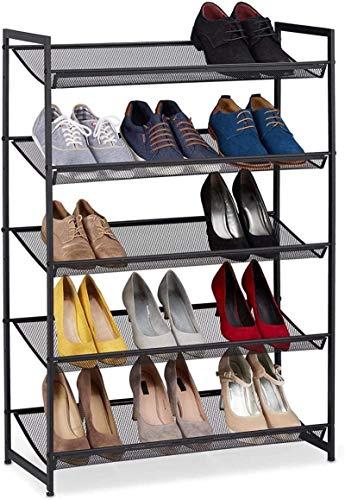 Ranuras de zapato ajustables Organizador Bastidore Estante de zapatos metálicos 5 niveles de almacenamiento para 15 pares Pacto de acero negro compacto y negro de 5 pares de 1 5 cm Rack de soporte de