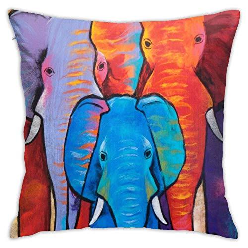 QUEMIN Fundas de Almohada de Tiro de Familia de Elefantes Coloridos 18x18 Pulgadas decoración del hogar Fundas de cojín Fundas de cojín para sofá Dormitorio Sala de Estar