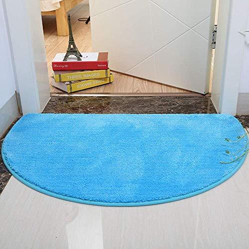 Alfombra de baño Suave Absorbente No es fácil de Quitar el Cabello Alfombra de baño Antideslizante 60 Veces; 90 cm Semicírculo Azul Cómodo