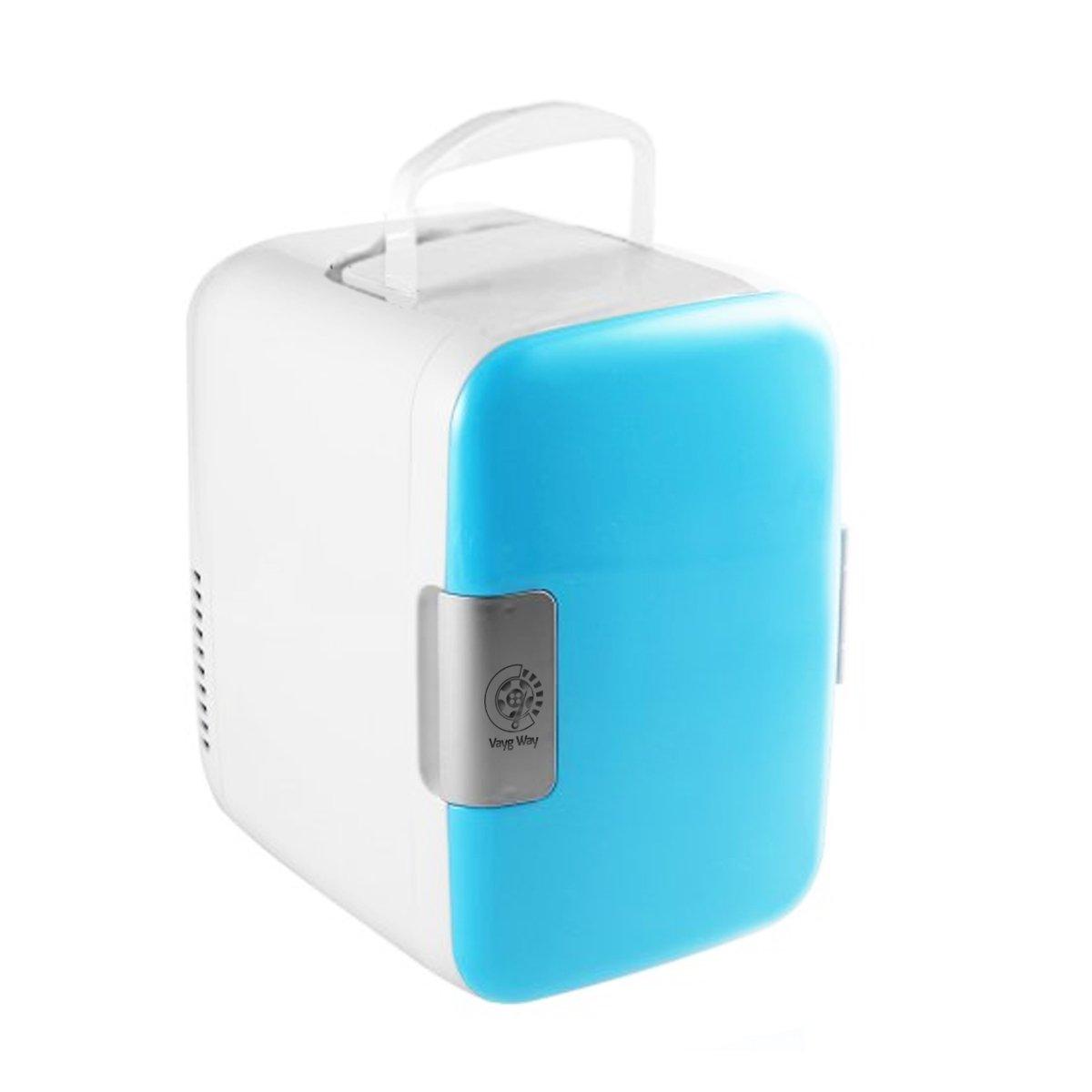 VaygWay Mini Fridge Portable Cooler-Electric Cooler/Warmer AC/DC Thermoelectric System- Universal Refrigerator Car Travel Home-Work Desk Baby Bottle Medicine