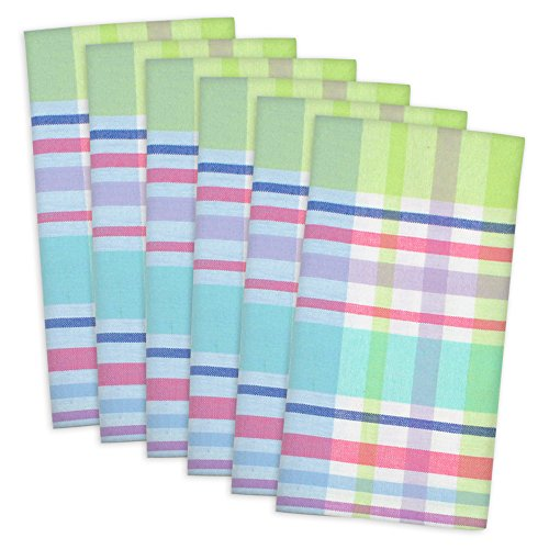 """DII Spring Plaid Cloth Napkin, Made Oversized for Place Settings, Family Dinners, BBQ, and Easter - 20x20"""", Set of 6"""