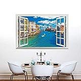 Etiqueta De La Pared, Ventana 3D Venecia De Italia Etiqueta De La Pared Extraíble Hermosa Vista Calcomanías Murales Vinilo Decoración Para El Hogar 90X60Cm