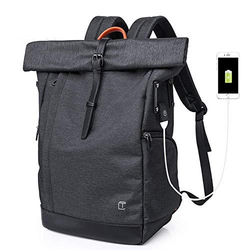 Baulanna Roll-Top Rucksack 15,6 Zoll Damen Herren,Wasserdicht Tagesrucksack Schulrucksack College-Rucksack Backpack (Black)