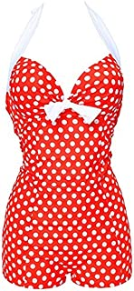 BEESCLOVER NWT Hot Sexy Swimwear Women Vintage Style One Piece Dot Print Bow Knot Sweetheart Swimsuit Strappy Plus Size M~4XL Red and White Dot 4XL