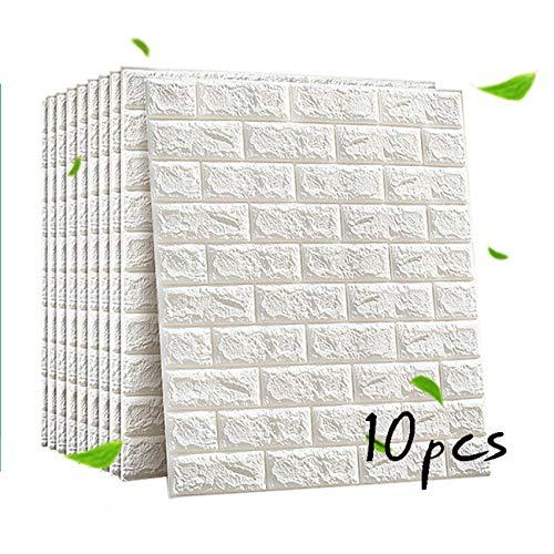 ZHome 3D Brick Wallpaper, PE-Schaum-Selbstklebender 3D Wandpaneele Aufkleber Tapete Geprägte Brick Keramik-Fliese Steinwandpaneele Abziehbilder Für Schlafzimmer Küche Wohnzimmer-Dekor (weiß) 70x77cm