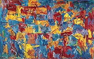 Map by Jasper Johns United States America Abstract Cool Warm Colors Print Poster 47x68