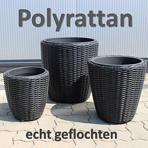 QM Basic 3er Set Geflecht Pflanzkübel + Einsatz, rund Blumentopf groß Übertopf Anthrazit Schwarz Poly-Rattan