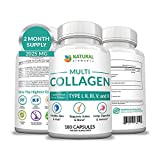 Multi Collagen Protein Capsules - 180 Collagen Capsules - Type I, II, III, V, X Collagen Pills -...