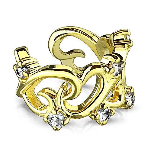 eeddoo® Clip on Ear Cuff Piercing aus EDELSTAHL mit filigranen Ranken-Design und Kristallen ((3) Gold)