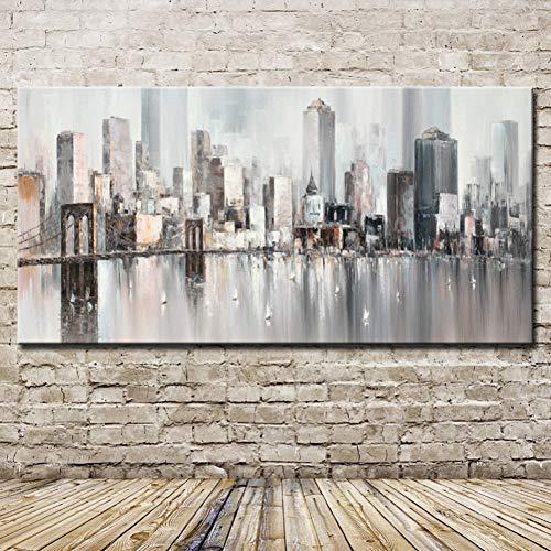 TYFEI Skyline de Nueva York Paisaje Urbano Arquitectura Arte Abstracto de la Pared Lienzo Pintado a Mano Pinturas al óleo Cuadro de la Pared Decoración del hogarsin Marco
