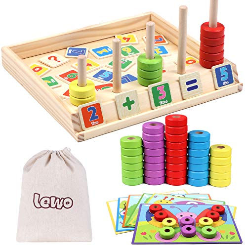 Lewo Wooden Puzzles Counting Toys Math Games STEM Toys Fine Motor Skills Toys Montessori Educational Toys for 3 4 5 6 Year Olds Toddlers Kids