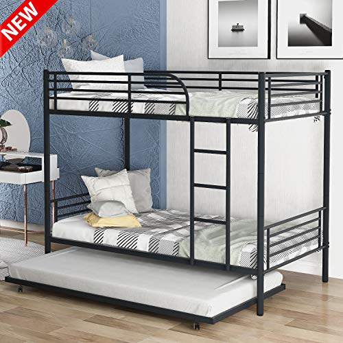 LEEKOUS Best Metal Bunk Beds Twin Over Twin with Trundle, Bunk Bed Frame Twin Size with Ladder for Bedroom, Dorm, Boys, Girls, Kids, Can be Divided into 2 beds with Headboard and Footboard (Black)