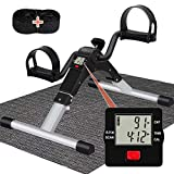 TABEKE Pedal Exerciser Portable for Senior, Folding Mini Bike Exercise Peddler Stationary for Arm and Leg Workout, Under Desk Cycle with Large Screen