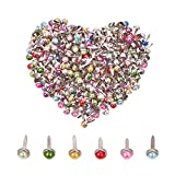 PH PandaHall 300pcs Mixed Color Pearl Mini Brads Fasteners Metal Paper Fasteners Iron Plated Scrapbooking...