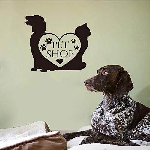 Tienda de mascotas vinilo etiqueta de la pared perro gato pata corazón wallpaper tienda de mascotas mural tatuajes de pared arte decoración de la casa decoración del hogar 40 * 41 cm