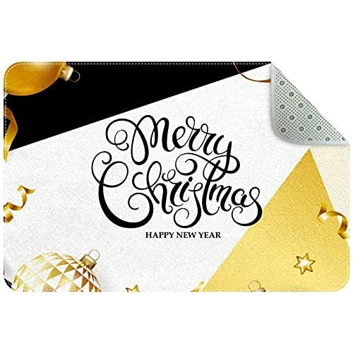 Felpudo, diseño de bola de Navidad dorada con fondo geométrico, superabsorbentes de agua, de perfil bajo, lavable a máquina, antideslizante, para puerta delantera, interior del trampero de la suciedad