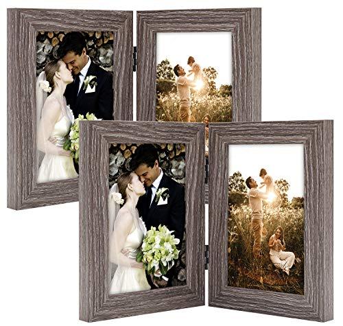 Golden State Art Dekorativer Bilderrahmen mit Klapptisch und 2 vertikalen Öffnungen aus Echtglas 4x6 (2-Pack) grau