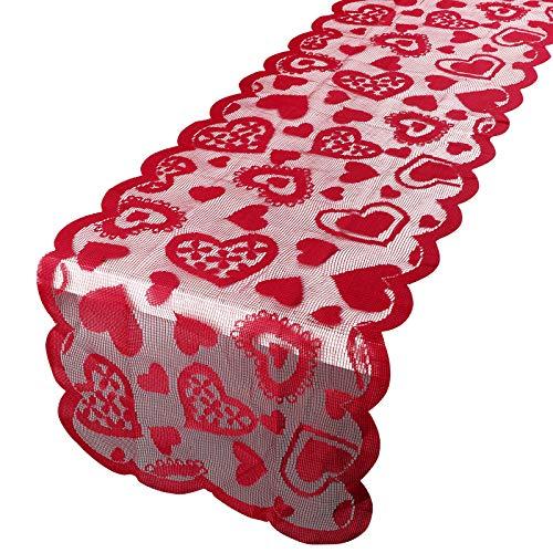 Camino de Mesa San Valentín 183 x 33cm Tela Decoración Boda Comedor de Mesa Tapete Adorno Corazón Rojo ⭐