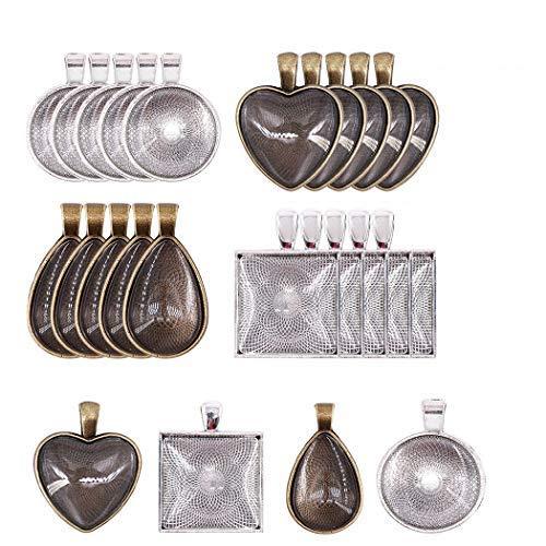 Set de Bandejas Colgantes,24 Pack Plata Colgante Bandejas con Cristal Cabujón Redondo Pendant Trays para Fabricación de Joyas BricolajeRedondo Cuadrado Corazón Lágrima