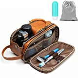 Toiletry Bag for Men or Women - Dopp Kit For Travel. Large Cosmetic and Shaving Bag. Toiletries Organizer PU Leather Bags (Standard, Brown)