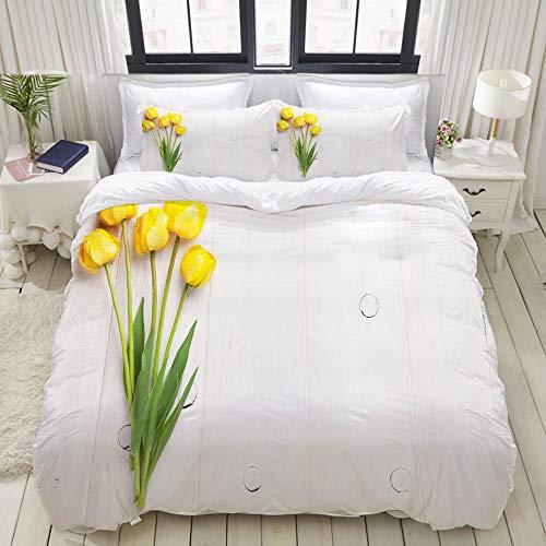 ALLMILL Bedding Juego de Funda de Edredón,Tulipanes Coloridos en un Tablero Amarillo de Madera Blanco rústico con Tema de la Primavera,Microfibra Funda de Nórdico y Fundas de Almohada - 220 x 240cm