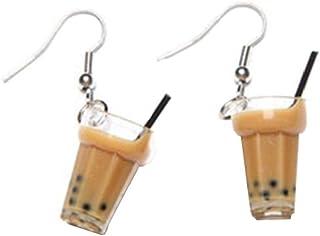 1 paio Unico Bubble Tea Milk Tea bevanda orecchini di goccia di personalità resina gioielli divertente