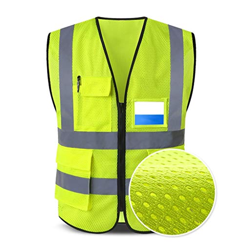 DBL Reflektierende Warnweste Atmungsaktives Netz Arbeitskleidung mit mehreren Taschen Warnweste Reisen bei Nacht Sicherheit Unisex Sicherheitswesten (Color : Fluorescent yellow, Size : L)
