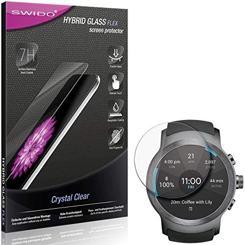 SWIDO Panzerglas Schutzfolie kompatibel mit LG Watch Sport Bildschirmschutz-Folie & Glas = biegsames HYBRIDGLAS, splitterfrei, Anti-Fingerprint KLAR - HD-Clear
