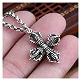 JUSYAOMING Cross Vajra Pendant Charms for Necklace Men Women Jewelry Gothic Punk Style Accessory (Metal Color : with 55cm Chain)