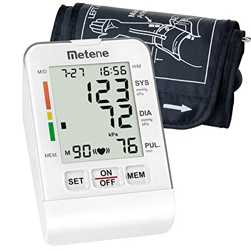 Metene Upper Arm Blood Pressure Monitor Cuff Kit with Large LCD Display, Irregular Heartbeat Monitoring Fully Automatic Fast & High Accuracy Reading (90 Reading Memory)