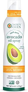 Chosen Foods 100% Pure Avocado Oil Spray 6 oz., Non-GMO, 500° F Smoke Point, Propellant-Free, Air Pressure Only for High-Heat Cooking, Baking and Frying (2)