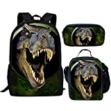 chaqlin - Juego de 3 bolsas de escuela para niños, mochila con bolsa de almuerzo, bolsa de lápices de dinosaurio, lobo, fútbol impreso Multicolor Dinosaurio animal 5 (3pcs/Set) Talla única