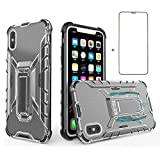 Phone Case for iPhone Xs Max with Screen Protector Tempered Glass Metal Kickstand Stand Heavy Duty Hybrid Hard Rugged Protective Cover Cases Compatible Apple X Max SX 10s 10 Plus Women Black+Gray -  Asuwish