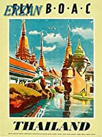 ERZANメタルポスター壁画ショップ看板ショップ看板B-O-A-Cをタイに飛ばすアジアアジアンヴィンテージ旅行広告インテリア 看板20x30cm